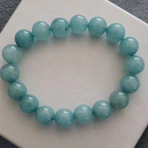 Blue bead stretchy bracelet